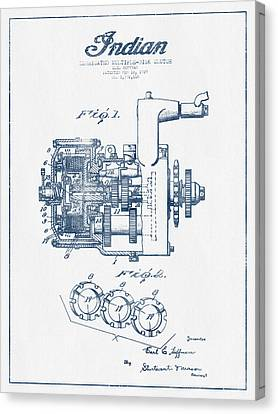 Indian Disk Clutch Patent Drawing From 1929 - Blue Ink Canvas Print