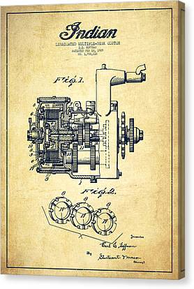 Indian Disk Clutch Patent Drawing From 1929 - Vintage Canvas Print