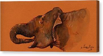 Indian Elephant Canvas Print by Juan  Bosco