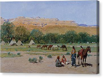 Indian Encampment Canvas Print by Henry Farny