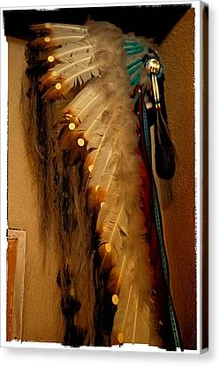 Indian Feathered Headdress Canvas Print by David Patterson