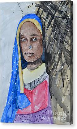 Canvas Print featuring the painting Indian Girl by Ismeta Gruenwald