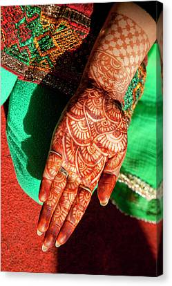 Indian Henna Tattoo Design On Hand Canvas Print by Charles O. Cecil