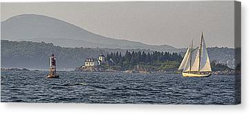Canvas Print featuring the photograph Indian Island Lighthouse - Rockport - Maine by Marty Saccone