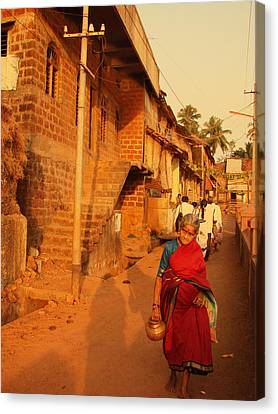 Indian Lady In Red Sari. Indian Collection Canvas Print by Jenny Rainbow