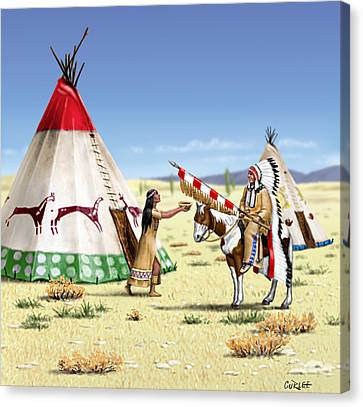 Native American Indian Maiden And Warrior Canvas Print by Walt Curlee