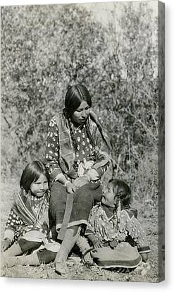 Canvas Print featuring the photograph Indian Mother With Daughters by Charles Beeler