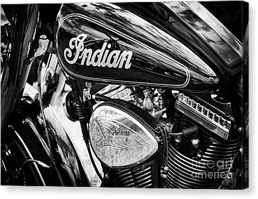Tim Canvas Print - Indian Chief Motorbike Monochrome by Tim Gainey