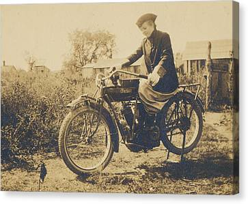Canvas Print featuring the photograph Indian Motorcycle Woman Rider by Paul Ashby Antique Images