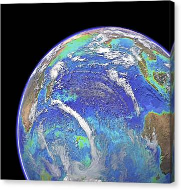 Indian Ocean, Chlorophyll And Bathymetry Canvas Print by Science Photo Library