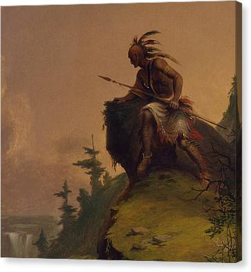 Indian On A Cliff Canvas Print