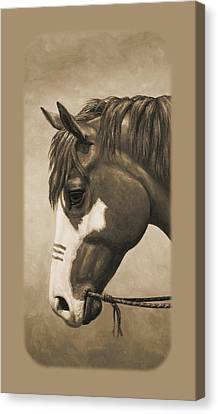 Indian Pony War Horse Sepia Phone Case Canvas Print by Crista Forest