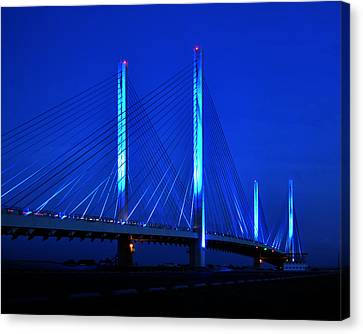 Indian River Bridge At Night Canvas Print by Bill Swartwout