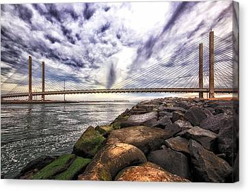 Indian River Bridge Clouds Canvas Print by Bill Swartwout