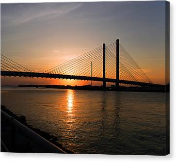 Indian River Bridge Sunset Reflections Canvas Print by Bill Swartwout