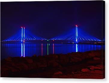 Indian River Inlet Bridge After Dark Canvas Print by Bill Swartwout