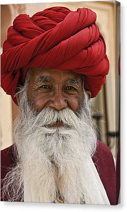 Old Man With Beard Canvas Print - Indian Santa Claus? by Michele Burgess