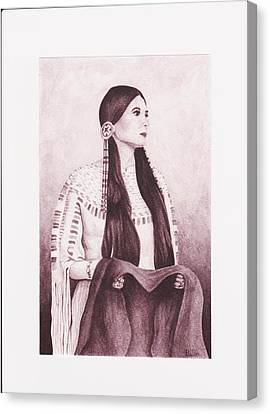 Indian Sioux Maiden Canvas Print by Billie Bowles