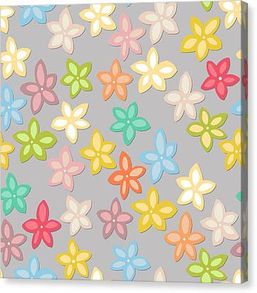 Summer Flowers Canvas Print - Indian Summer Flowers Silver by Sharon Turner