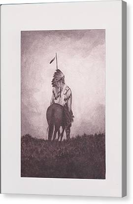 Indian Sunset Of Dying Race Canvas Print by Billie Bowles