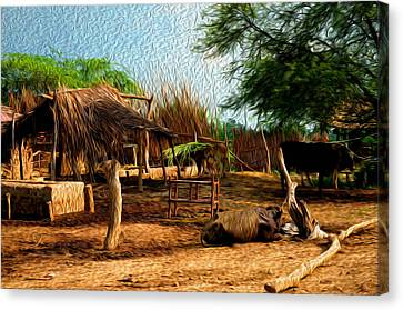 Indian Village Canvas Print by Deepti Chahar