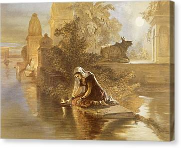 Indian Woman Floating Lamps Canvas Print by William 'Crimea' Simpson
