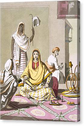 Indian Woman In Her Finery, With Guests Canvas Print