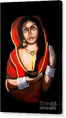 Canvas Print featuring the painting Indian Woman With Lamp by Saranya Haridasan