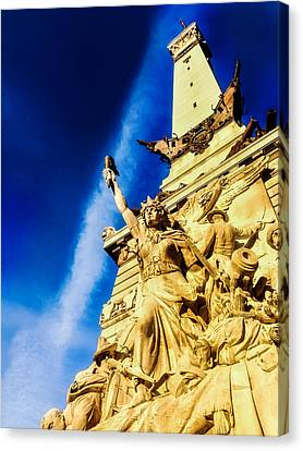 Indiana Civil War Monument Canvas Print by Jon Woodhams