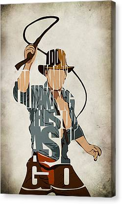 Mix Media Canvas Print - Indiana Jones - Harrison Ford by Inspirowl Design