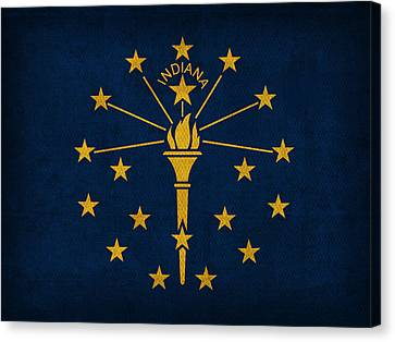 Indiana Canvas Print - Indiana State Flag Art On Worn Canvas by Design Turnpike