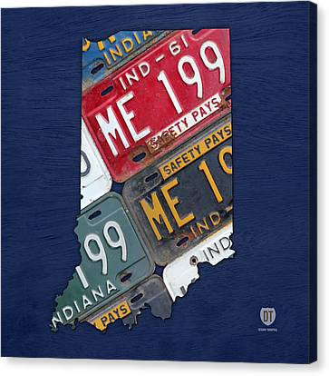 Tag Art Canvas Print - Indiana State License Plate Map by Design Turnpike