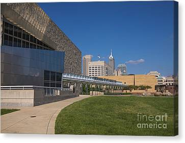 Indiana State Museum And Indianapolis Skyline Canvas Print by David Haskett