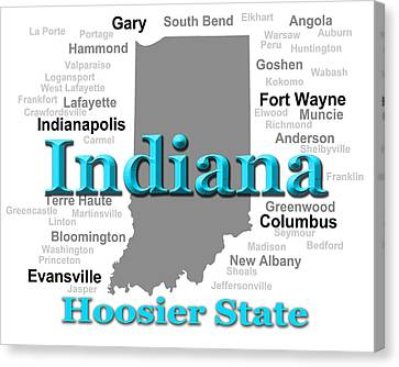 Indiana State Pride Map Silhouette  Canvas Print by Keith Webber Jr