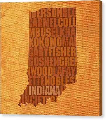 Indiana State Word Art On Canvas Canvas Print by Design Turnpike