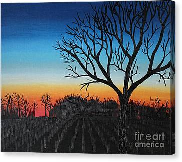 Indiana Corn Rows Canvas Print - Indiana Sunset by Lee Alexander