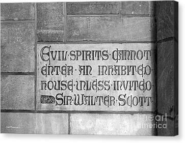 Indiana University Memorial Hall Inscription Canvas Print by University Icons