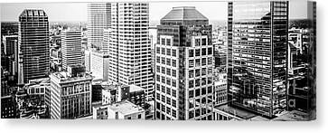 Indianapolis Aerial Black And White Panorama Photo Canvas Print