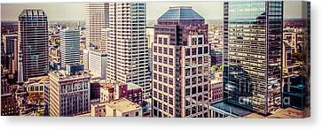 Indianapolis Aerial Retro Panorama Picture Canvas Print by Paul Velgos