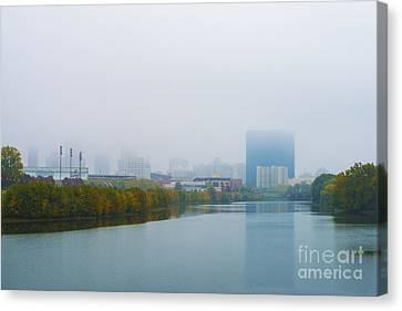 Indianapolis Autumn Skyline Fog Canvas Print by David Haskett