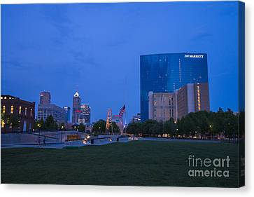 Indianapolis Blue Hour Skyline Canvas Print by David Haskett