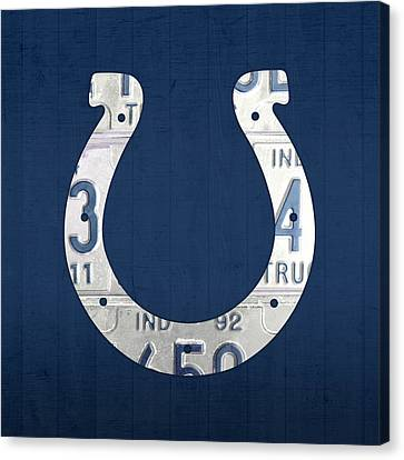 Indianapolis Colts Football Team Retro Logo Indiana License Plate Art Canvas Print by Design Turnpike