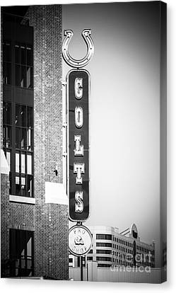 Indianapolis Colts Sign Picture In Black And White Canvas Print by Paul Velgos