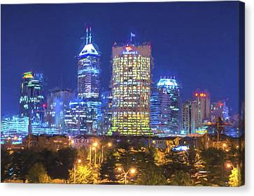 Indianapolis Indiana Digitally Painted Night Skyline Blue 3 Canvas Print by David Haskett