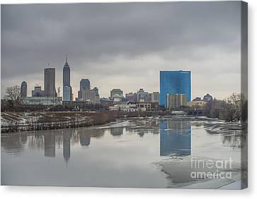 Indianapolis Indiana Melting Winter Canvas Print by David Haskett