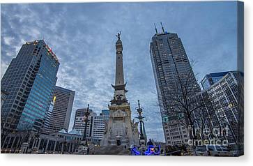 Indianapolis Indiana Monument Circle Blue  Canvas Print by David Haskett