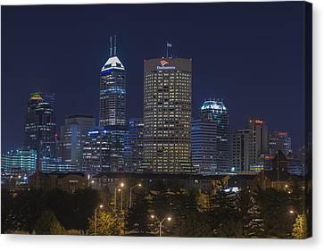 Indianapolis Indiana Night Skyline Blue Canvas Print by David Haskett