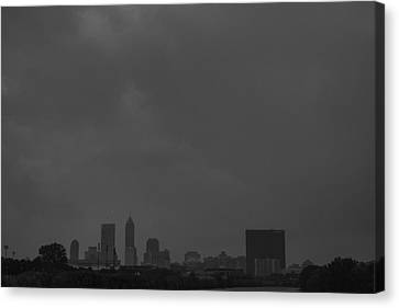 Indianapolis Indiana Raining Black White Grain Canvas Print by David Haskett
