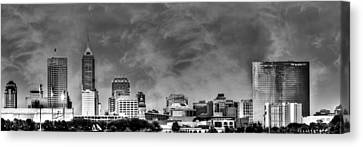White River Canvas Print - Indianapolis Indiana Skyline 0762 by David Haskett