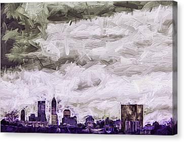 Indianapolis Indiana Skyline Digitally Painted Purple 1 Canvas Print by David Haskett
